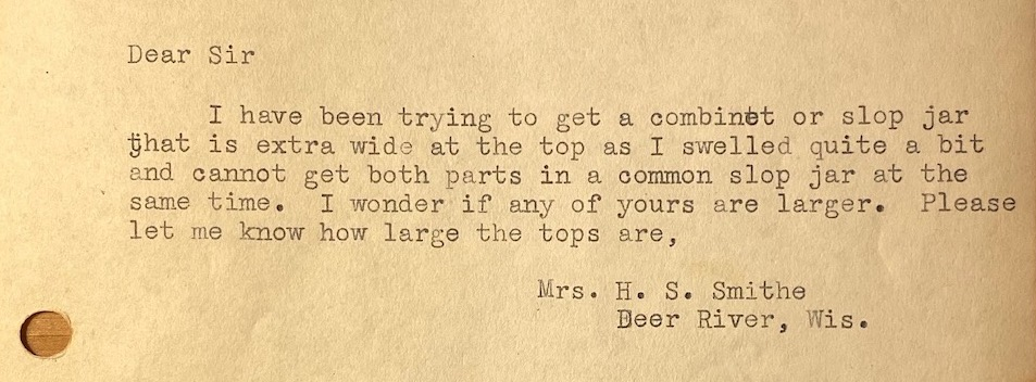 a complaint letter from the 1930s